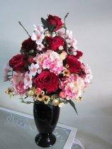 Shop Hoa  Trang Trí   - Bình sứ: Tú cầu hồng, hồng đỏ, Tú cầu, Thủy tiên