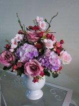 Shop Hoa  Trang Trí   - Bình sứ: Tú cầu hồng, hồng trứng khô, Thủy tiên